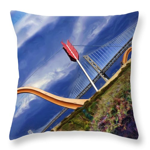 Art Photography Throw Pillow featuring the photograph Arrow Through Bay Bridge by Blake Richards