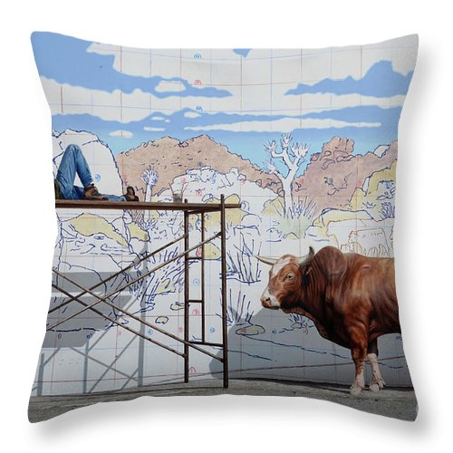 Mural Throw Pillow featuring the photograph Artist At Work by Bob Christopher