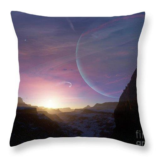 Artwork Throw Pillow featuring the digital art Artists Concept Of A Scene by Brian Christensen