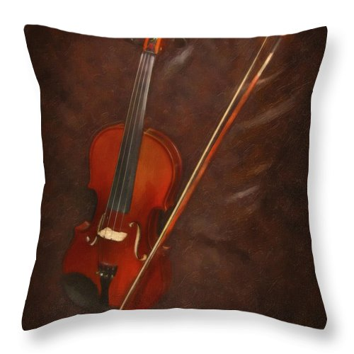 Violin Throw Pillow featuring the digital art Artist's Violin by Dale Jackson