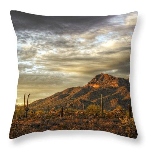 Sunset Throw Pillow featuring the photograph As The Sun Sets by Saija Lehtonen