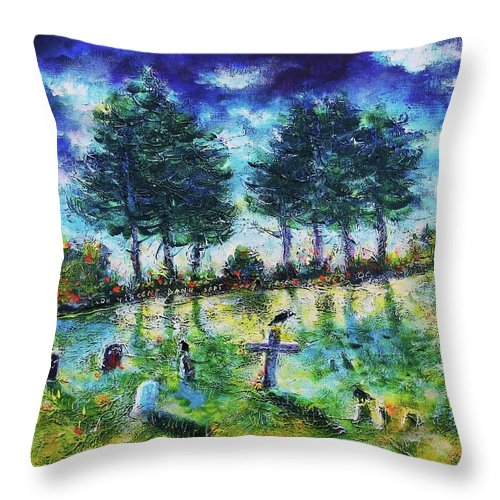 Landscapes Throw Pillow featuring the painting The Jolly Cemetery by Ion vincent DAnu