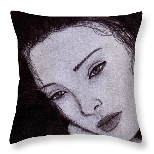 Portrait Throw Pillow featuring the drawing Ashley by Toualith MEANGO
