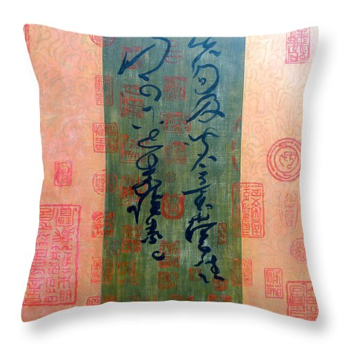 Tom Roderick Throw Pillow featuring the painting Asian Script by Tom Roderick