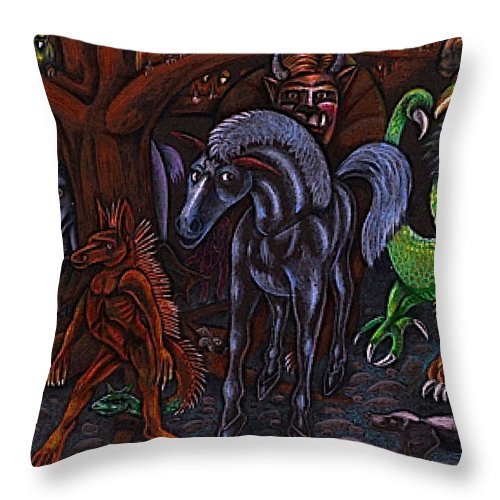 Magic Throw Pillow featuring the drawing Asil At The Forest Lord's Midnight Gathering In Shitaki by Al Goldfarb