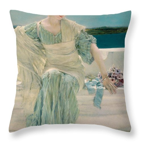 Ask Throw Pillow featuring the painting Ask Me No More by Sir Lawrence Alma-Tadema