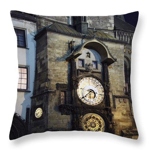 Old Town Hall Clock Tower Throw Pillow featuring the photograph Astronomical Clock At Night by Sally Weigand