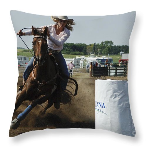 Rodeo Throw Pillow featuring the photograph At Full Speed by Bob Christopher