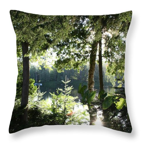 Woods Throw Pillow featuring the photograph At Home In The Woods by Pat Purdy
