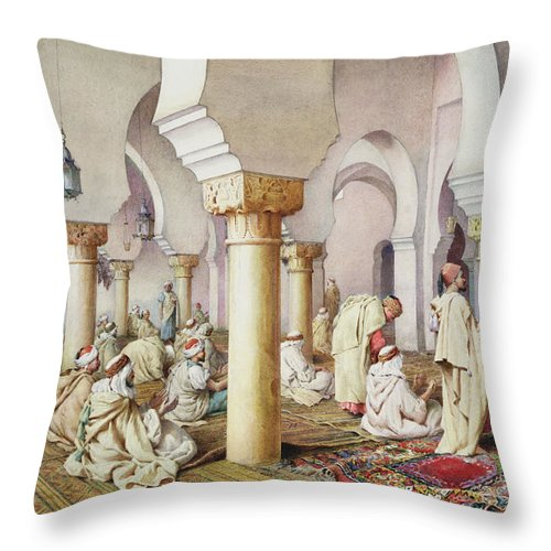 Orientalist; Arch; Prayer Mat; Islam; Islamic; Arabic; Muslim Throw Pillow featuring the painting At Prayer In The Mosque by Filipo Bartolini or Frederico