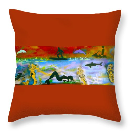 Mermaid Throw Pillow featuring the painting At Sea Gold by Tony B Conscious