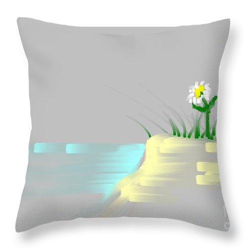 Flower Throw Pillow featuring the painting At The Beach by George Pedro
