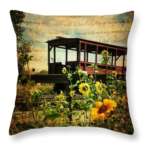 Sunflowers Throw Pillow featuring the photograph At The Station by Leah Moore