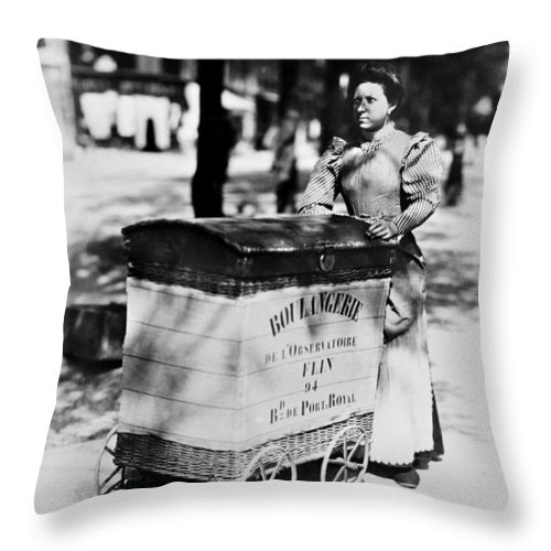 1898 Throw Pillow featuring the photograph Atget: Delivering Bread by Granger