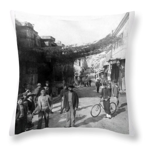 athens Greece Throw Pillow featuring the photograph Athens Greece C 1903 - Aeolos Street And The Stoa Of Hadrian by International Images