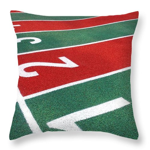 Athletic Throw Pillow featuring the photograph Athletic Track Markings With Numbers by Yali Shi
