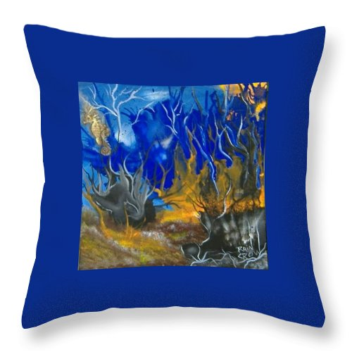 Abstract Throw Pillow featuring the painting Atlantean Seascape by Rain Crow