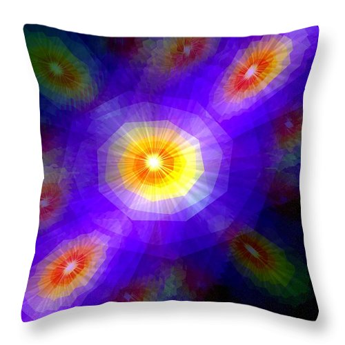 Blue Throw Pillow featuring the painting Atomic Litter by Renate Nadi Wesley