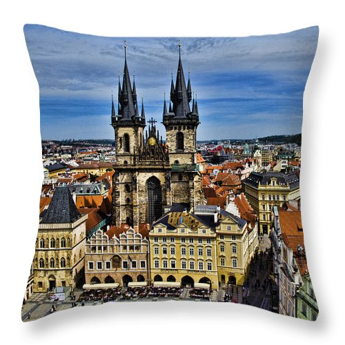 Prague Throw Pillow featuring the photograph Atop The Clock Tower - Prague by Jon Berghoff