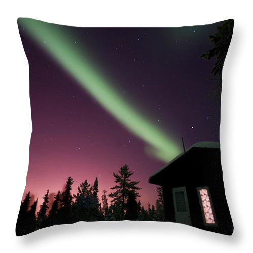 Yellowknife Throw Pillow featuring the photograph Aurora Borealis Above Cabin, Northwest by Jiri Hermann