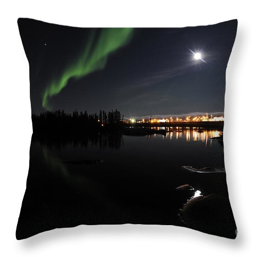 Yellowknife Throw Pillow featuring the photograph Aurora Borealis Over Long Lake by Jiri Hermann