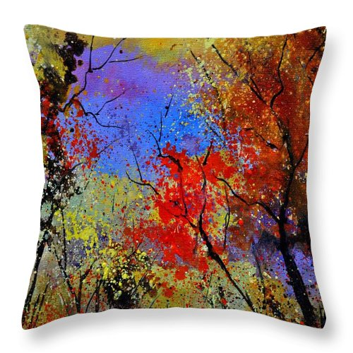 Landscape Throw Pillow featuring the painting Autumn 458963 by Pol Ledent