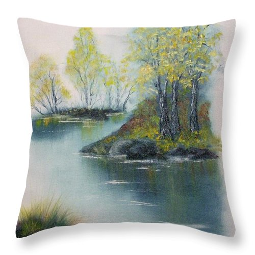 Landscape Throw Pillow featuring the painting Autumn Afternoon by Peggy King