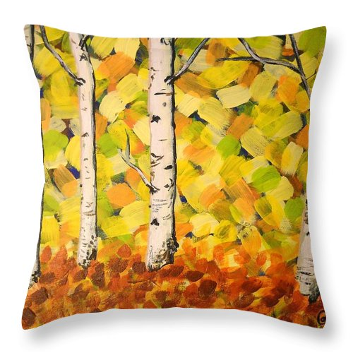Aspens Throw Pillow featuring the painting Autumn Aspens by Cami Lee
