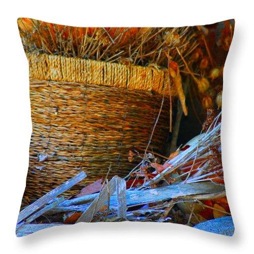 Autumn Throw Pillow featuring the photograph Autumn Basket by Karen Wagner