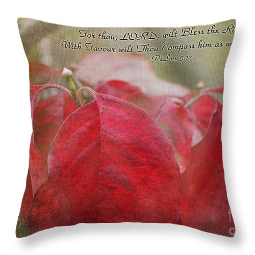 Nature Throw Pillow featuring the photograph Autumn Dogwood Leaves With Verse by Debbie Portwood