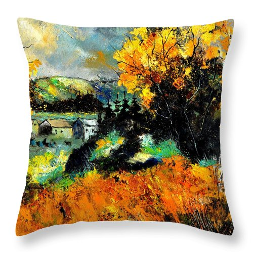 Landscape Throw Pillow featuring the painting Autumn In Ardennes 672101 by Pol Ledent