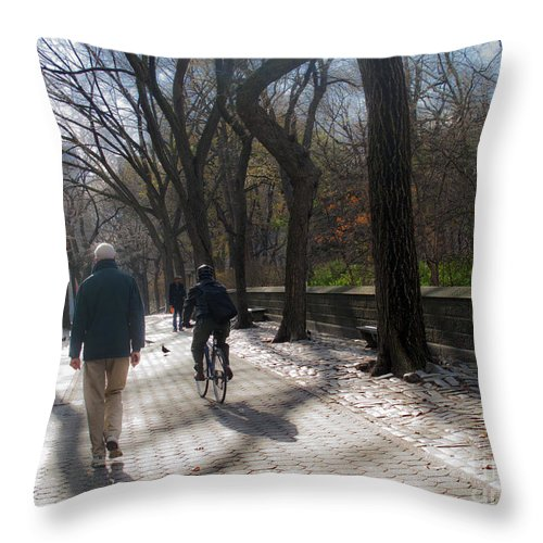 Central Park Throw Pillow featuring the photograph Autumn In New York 1 by Madeline Ellis