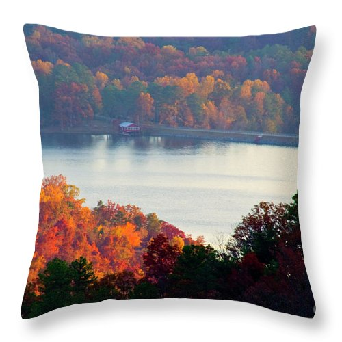 Autumn Leaves Throw Pillow featuring the photograph Autumn Lake by Michael Waters