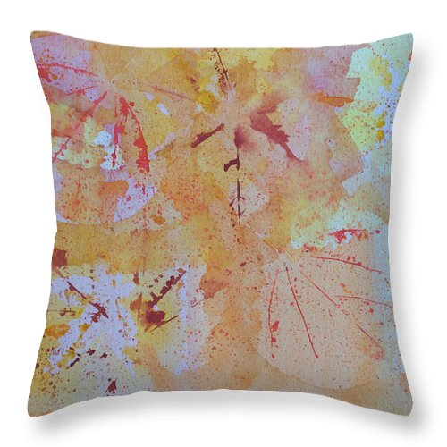 Watercolor Throw Pillow featuring the painting Autumn Leaf Splatter by Heidi Smith