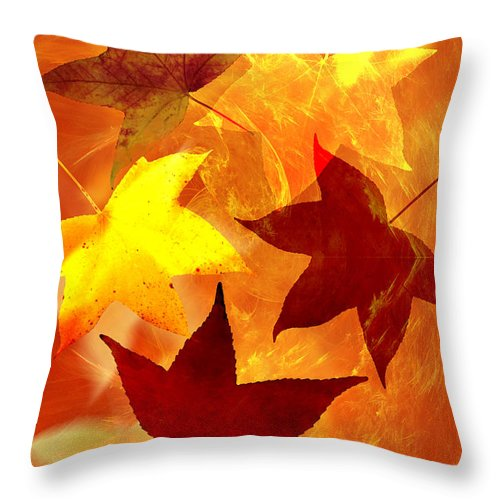 Abstract Throw Pillow featuring the digital art Autumn Leaves by Carol and Mike Werner