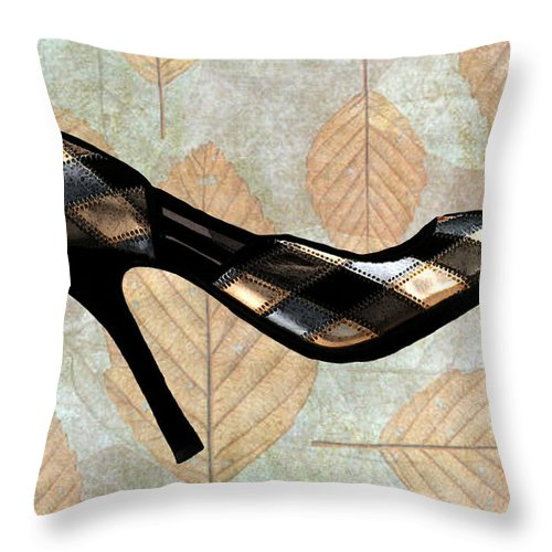 Shoes Heels Pumps Fashion Designer Feet Foot Shoe Stilettos Painting Paintings Illustration Illustrations Sketch Sketches Drawing Drawings Pump Stiletto Fetish Designer Fashion Boot Boots Footwear Sandal Sandals High+heels High+heel Women's+shoes Graphic Sophisticated Elegant Modern Throw Pillow featuring the painting Autumn Leaves Stilettos by Elaine Plesser
