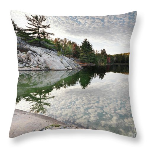 Lake Throw Pillow featuring the photograph Autumn Nature Lake Rocks And Trees by Oleksiy Maksymenko