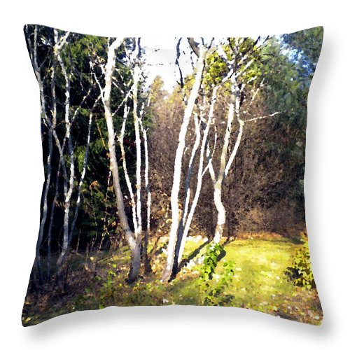 Trees Throw Pillow featuring the painting Autumn Sumacs by Renate Nadi Wesley