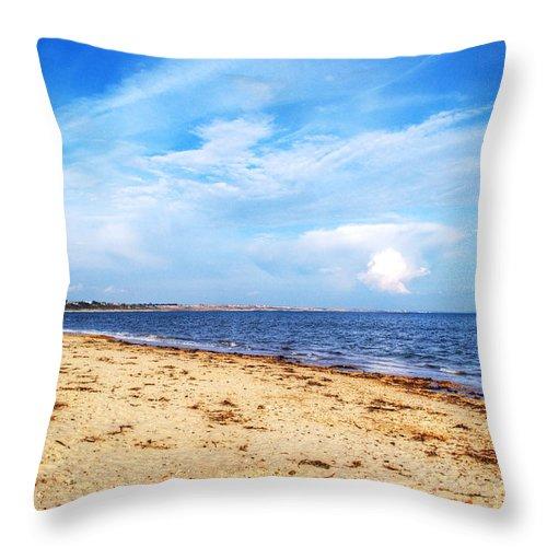 Avon Beach Throw Pillow featuring the photograph Avon Beach At Mudeford In Dorset by Chris Day