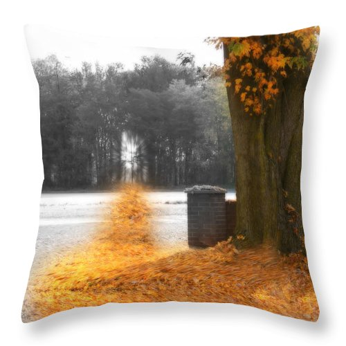 Leaves Throw Pillow featuring the photograph Awareness by Cathy Beharriell