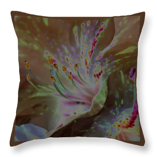Flower Throw Pillow featuring the photograph Azalea Rock by Carolyn Stagger Cokley