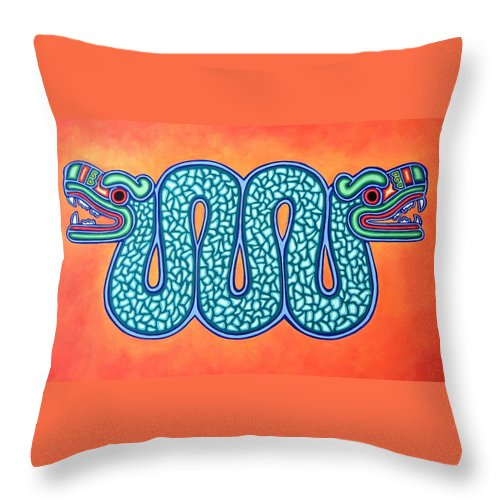 Mexico Throw Pillow featuring the painting Aztec Gold by Sonia Stiplosek