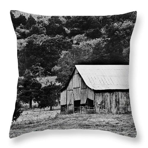 Rustic Throw Pillow featuring the photograph B N W Barn by Sheri Bartoszek