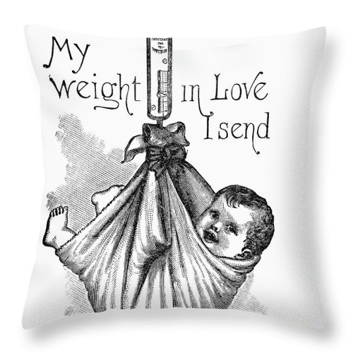 1887 Throw Pillow featuring the photograph Baby Being Weighed, 1887 by Granger