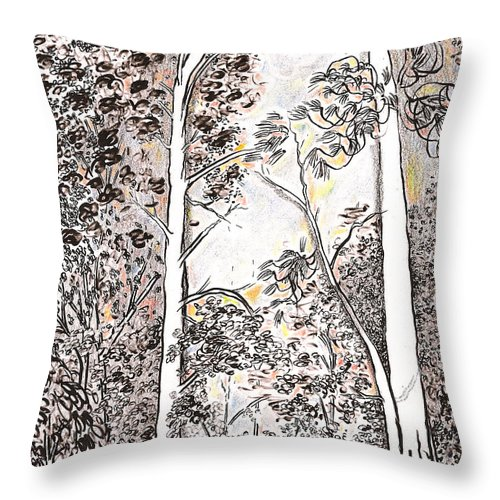 Birches Throw Pillow featuring the drawing Backyard View In Georgia by Al Goldfarb