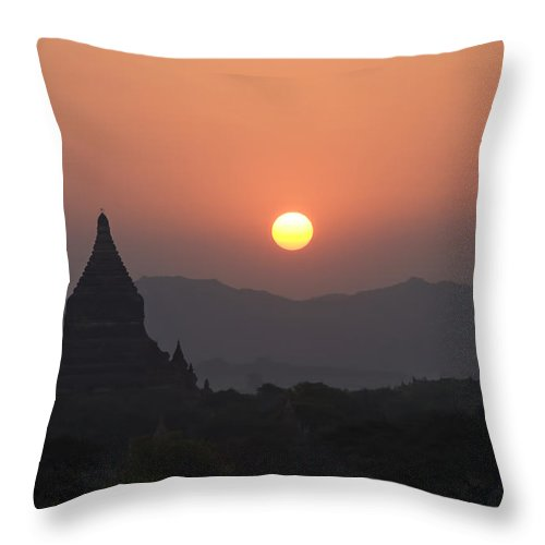Ancient Throw Pillow featuring the photograph Bagan Temples At Sunset II by Gloria & Richard Maschmeyer