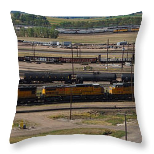 Train Throw Pillow featuring the photograph Bailey Yard by Sumi Martin