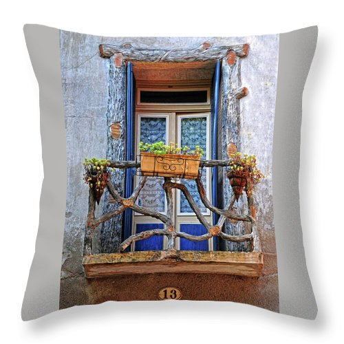 Balcony Throw Pillow featuring the photograph Balcony Door Dordogne France by Dave Mills