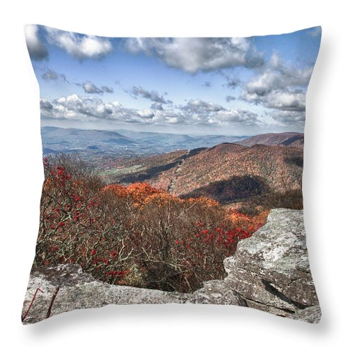 Virginia Throw Pillow featuring the photograph Bald Knob Overlook Near Mountain Lake by James Woody
