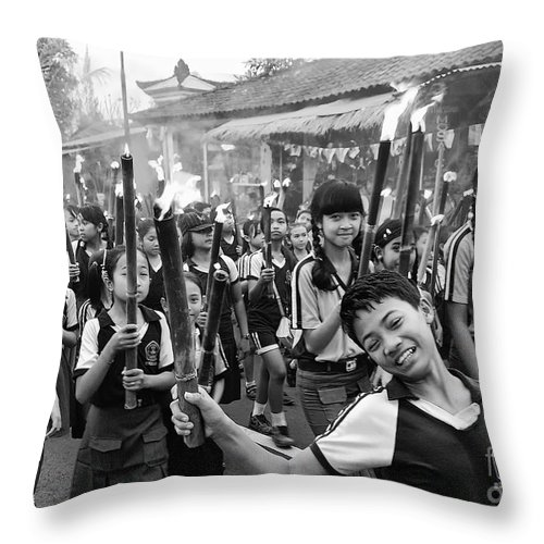 Children Throw Pillow featuring the photograph Bali Festival by Charuhas Images